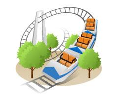無料素材 遊園地のジェットコースターを描いたイラストアイコン
