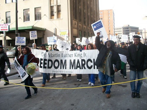 Willie Mukasa Ricks, former organizer for SNCC, leads the annual Dr. Martin Luther King, Jr. Day march in downtown Detroit. Ricks was close collaborater of Stokely Carmichael and Dr. King. (Photo: Abayomi Azikiwe) by Pan-African News Wire File Photos