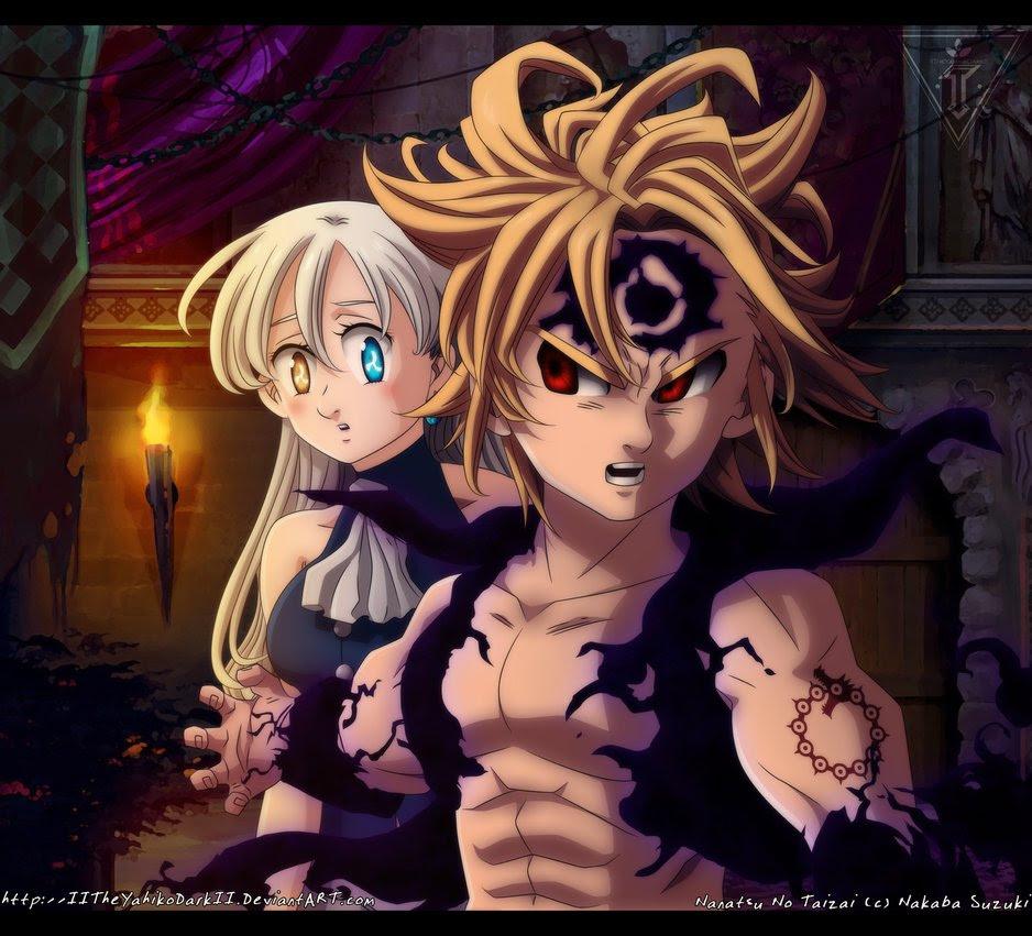 Demon Meliodas Protecting Goddess Elizabeth Nanatsu No
