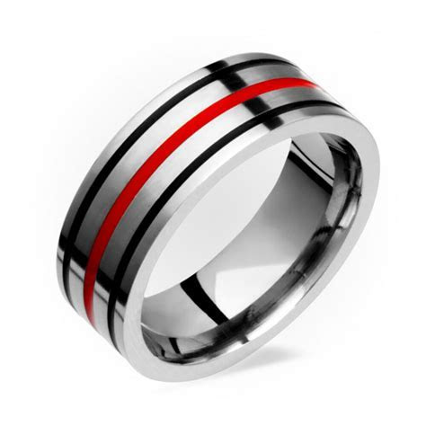 Mens Titanium Ring With Black Red Inlay Comfort Fit