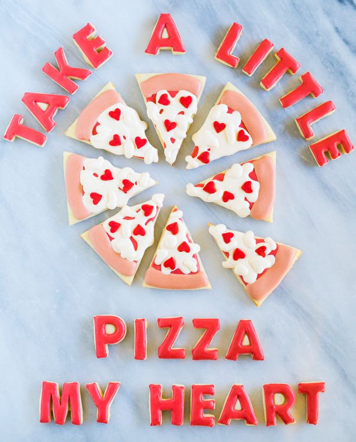 take a little pizza my heart, decorated cookies for valentine's day!
