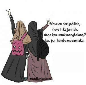 gambar kartun akwat muslimah bercadar ponsel harian