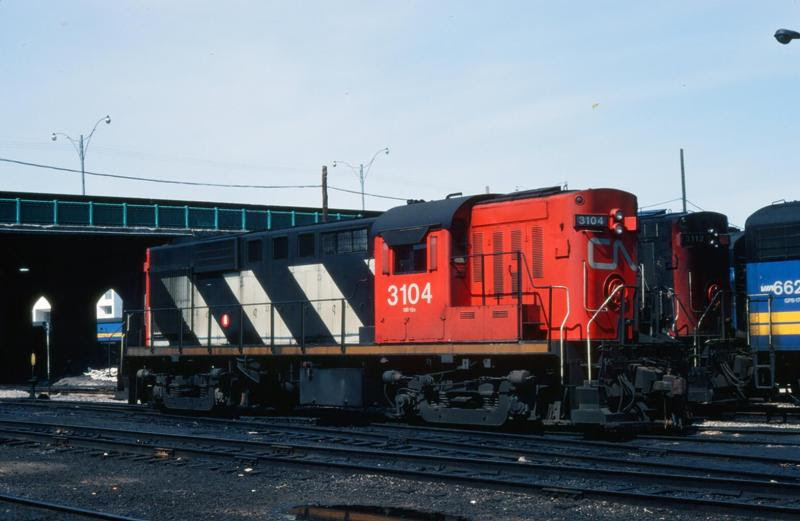 CN 3104 in Toronto, Ontario. Slide by unknown photographer.