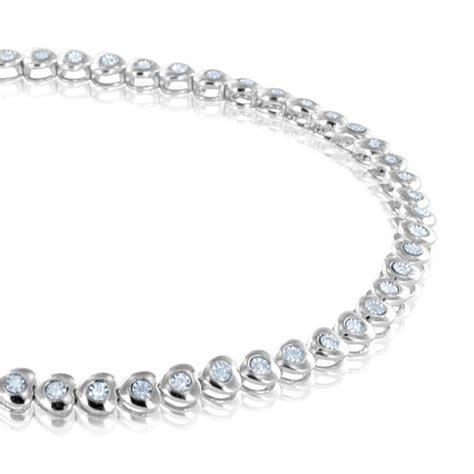 Heart Shaped Diamond Sterling Silver Tennis Bracelet
