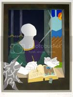 Tom Phillips silkscreen, Virgil in his study
