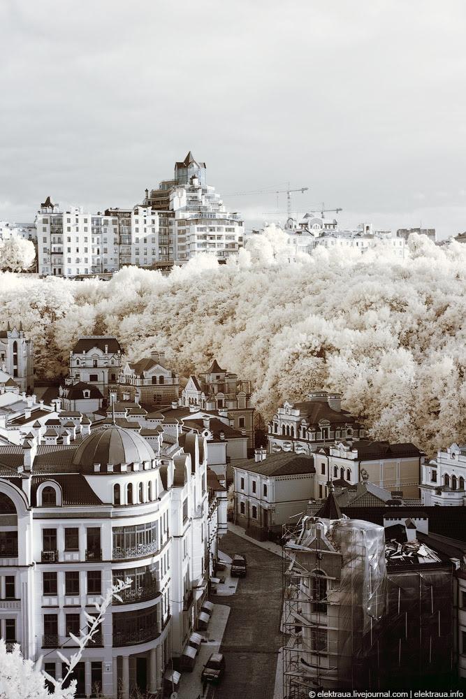 foto keindahan kota kiev menggunakan lensa infra merah