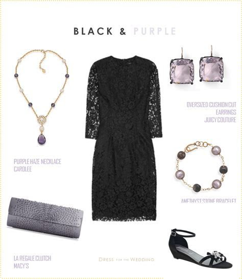 Black Lace Dress with Lavender Accessories
