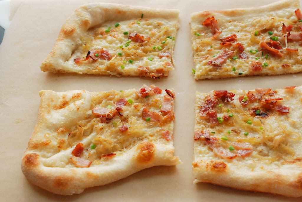 flammkuchen, out of the oven