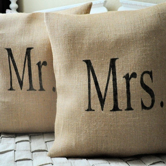 Mr. and Mrs. Burlap Pillow Covers