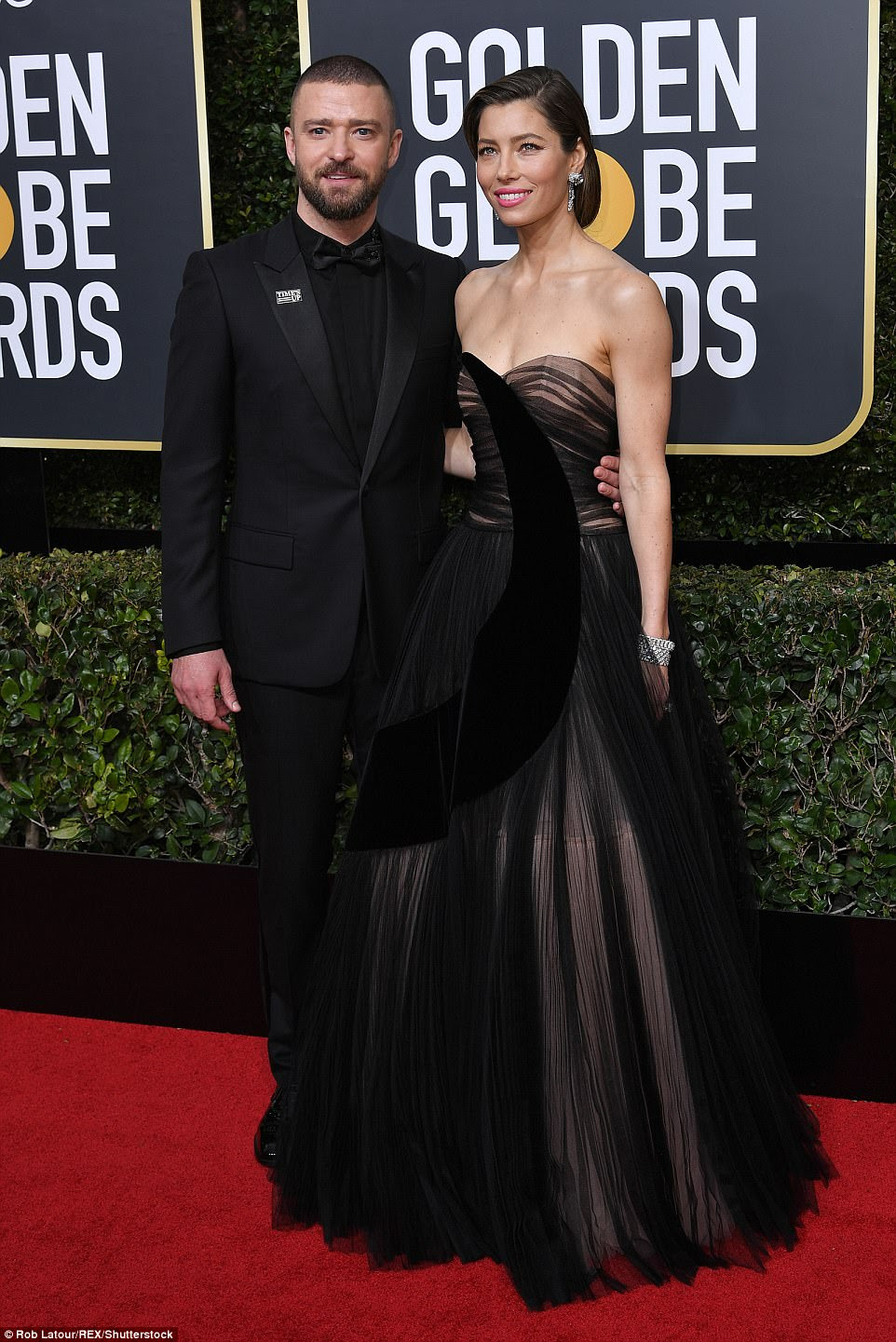 Flawless couple: Justin Timberlake and wife Jessica Biel looked incredible upon arrival on the red carpet; both wore Dior