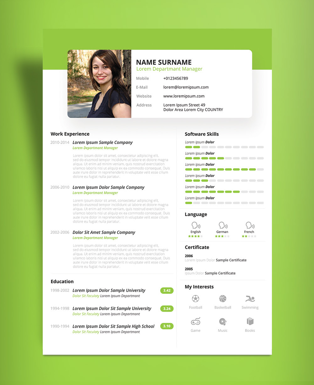 Free Beautiful Resume CV Design Template PSD  PPT File  Good Resume