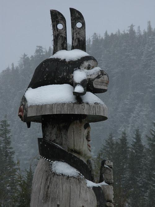 snow on a totem at Cape Fox Lodge, Ketchikan, Alaska
