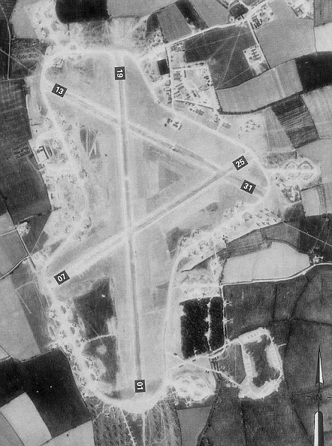 History: RAF Folingham pictured in May 1944, with the ends of runways numbered in this aerial from the time