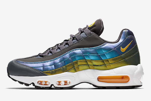 bd4680b2c36c The Nike Air Max 95 Features Pearlescent Finishes With Blue And Gold