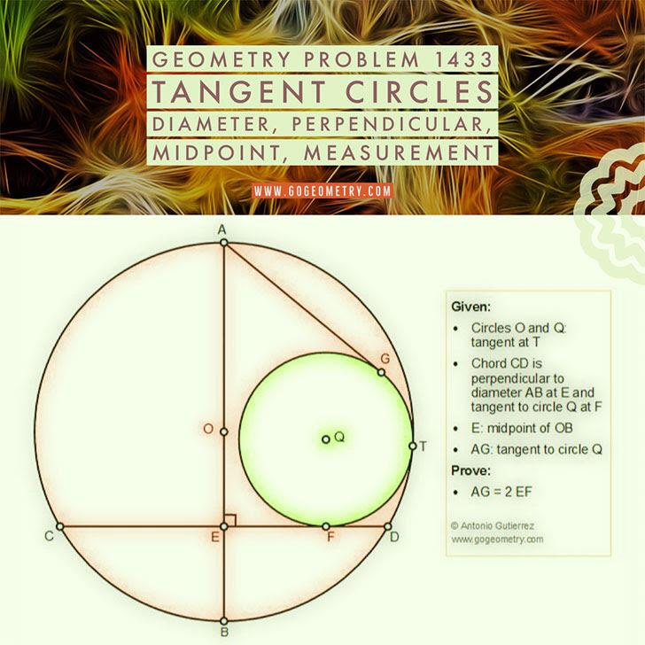 Problema de Geometría 1433 Circunferencias tangentes, Diametro, Perpendicular, Punto medio, Medida, iPad, Apps, poster, tipografia. Ingles ESL, English.