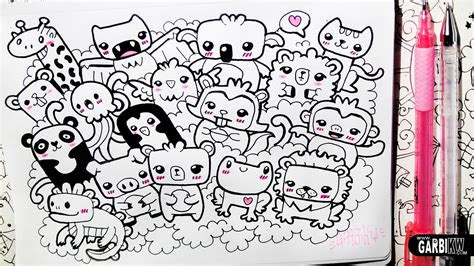 kawaii animals party  doodles easy drawings