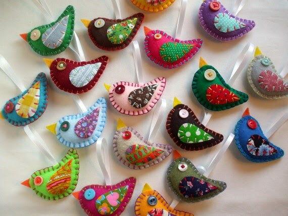 WHOLESALE LOT of 8 Eco Felt Bird Ornaments Eco Friendly Recycled Materials
