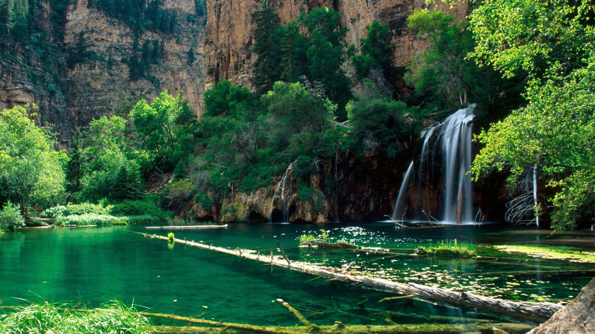Nature Waterfall From The Mountains Hd Wallpaper