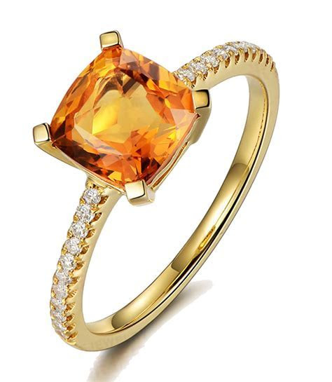1 Carat Yellow Sapphire and Diamond Engagement Ring in