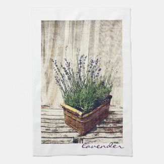 lavender in a basket kitchen towels