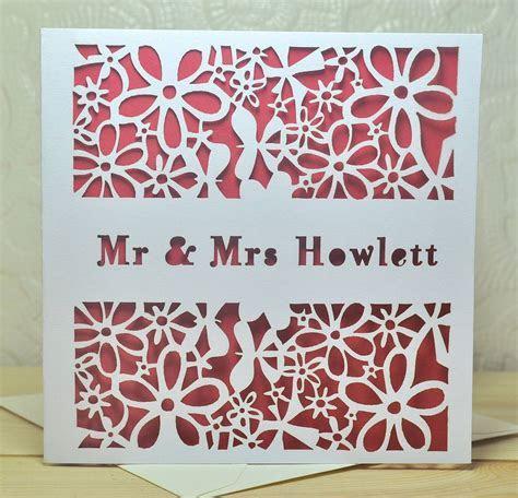 personalised laser cut wedding card by sweet pea design