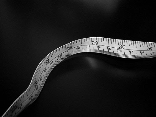 closeup of a measuring tape - black and white