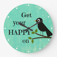 Cute Happy Quote with Bird Wall Clock