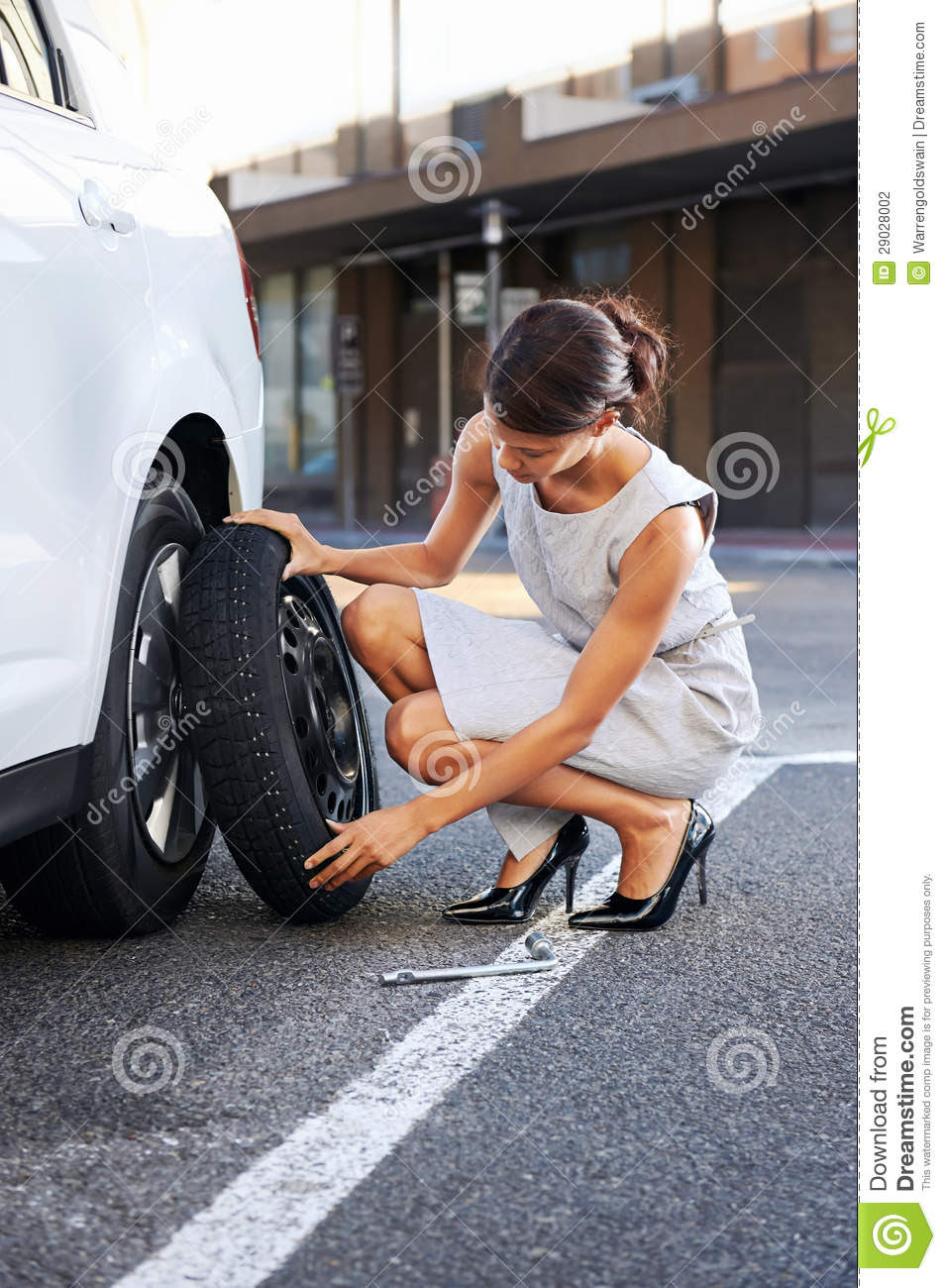 Flat Tire Woman Stock Photography Image 29028002