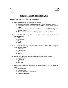 Particle Theory of Matter- Heat Transfer Quiz by Jesse