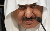 Saudi Arabia's Crown Prince Nayef bin Abdulaziz al-Saud speaks during a news conference about haj preparations in Mecca in this November 1, 2011 file photo. Prince Nayef died in Geneva, Saudi state television said on June 16, 2012, citing a royal court statement. Interior minister since 1975, he was the heir to Saudi King Abdullah and was appointed crown prince in October after the death of his elder brother and predecessor in the role, Crown Prince Sultan. REUTERS//Hassan Ali/Files