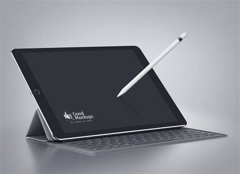 black apple ipad pro mockup psd  smart keyboard