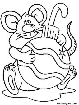 printable mouse with christmas decorations coloring pages for kids  free printable coloring