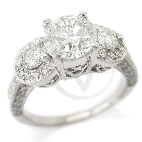Round Cut Antique Style Three Stone Pave Diamond