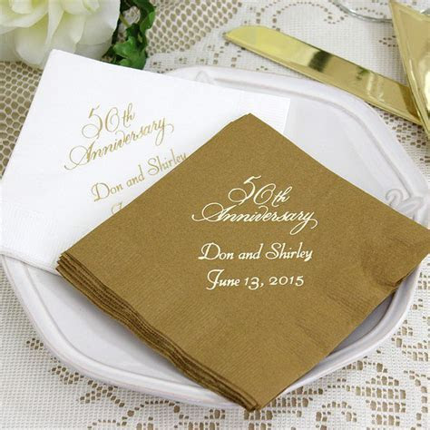 50th Anniversary Cocktail Napkins Personalized
