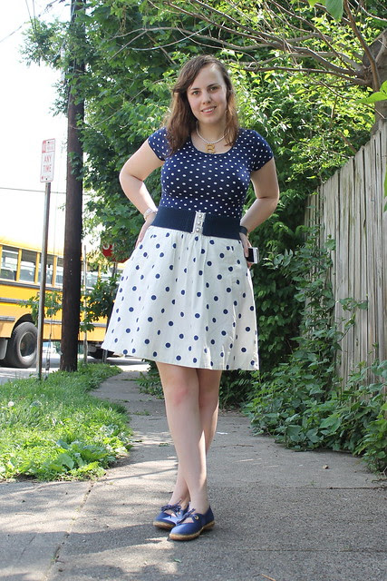 Double dots outfit: polkadot skirt from J. Crew Factory, polkadot top from H&M, thrifted belt, thrifted espadrilles, Anne Boleyn necklace made by me