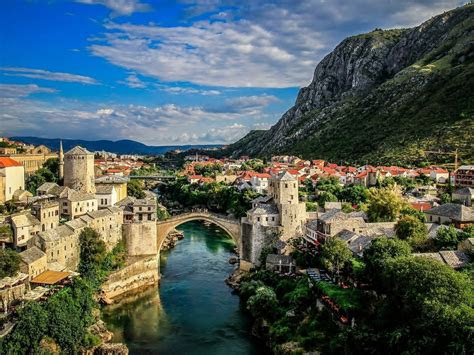 mostar bosnia  herzegovina bridge   neretva river