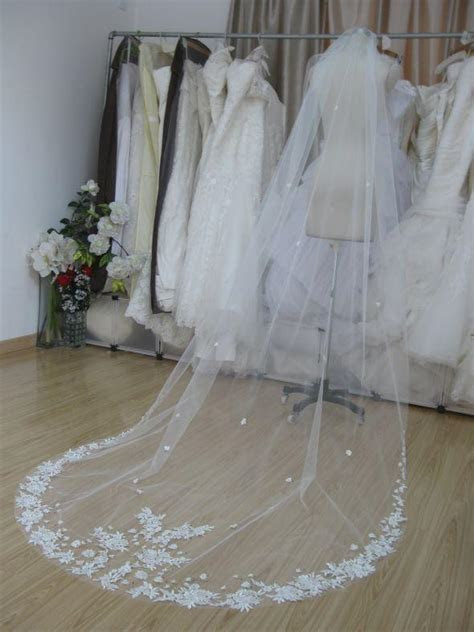 Vintage Style Single Layer Lace Net Long Wedding Veils