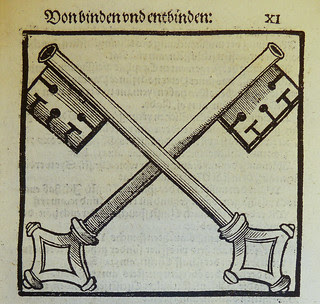 Woodcut illustration depicting the crossed keys representing the Church's power to loose and to bind, used by Heinrich Stayner of Augsburg