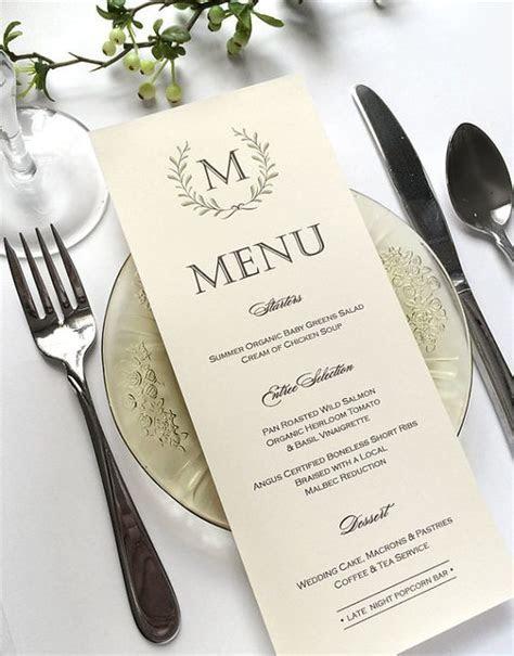Ivory Wedding Menu Cards   Woodland Wedding Menu Card