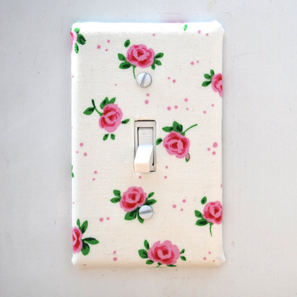 Light Switch Plate Cover, wall decor - off white with pink roses, floral, natural, nature, feminine, girlie, shabby chic, sweet