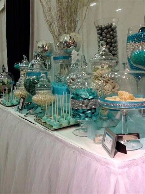 blue and white candy buffet tables   Blue, Silver and