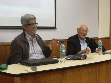 On the last day before his demise: François Houtart [right] addressing a meeting on the genoci