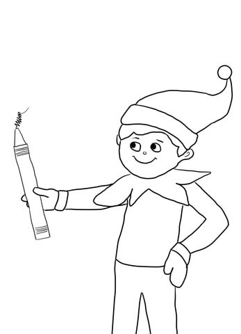 elf on the shelf with pencil coloring page  free