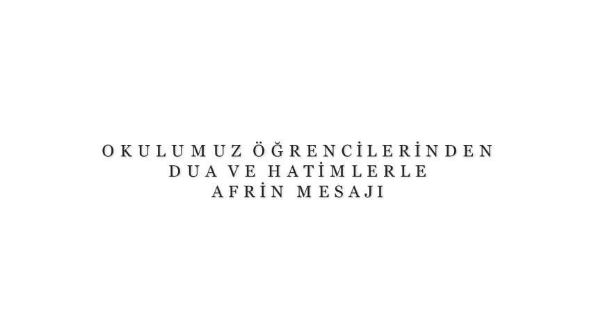 Zonguldak Devrek Anadolu Imam Hatip Lisesi öğrencilerinden Dua Ve