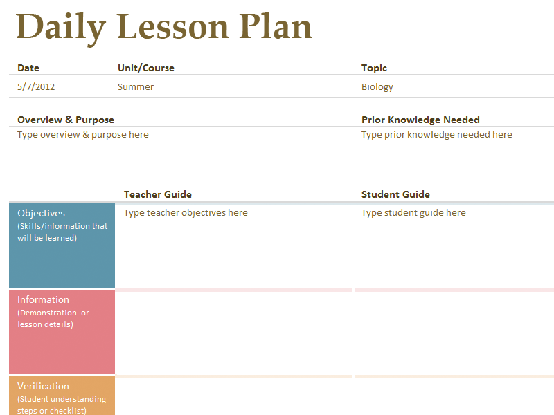 Mapsingen LESSON PLAN TEMPLATES – Lesson Plan Sample in Word