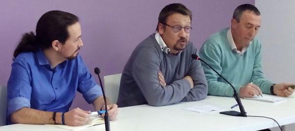 Pablo Iglesias, Xavier Domènech i Joan Baldoví, en una conferència de premsa a Madrid.