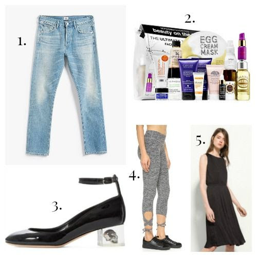Citizens of Humanity Jeans - Sephora Favorites - Alexander McQueen Pumps - Beyond Yoga Leggings - Massimo Dutti Dress