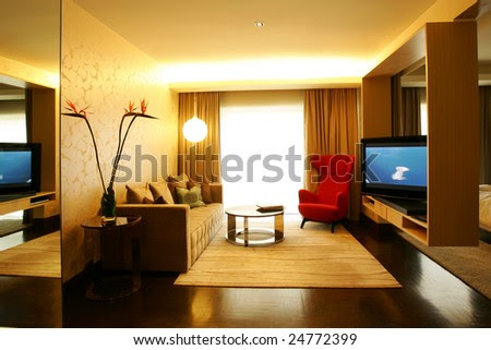Contemporary Living Room In Earth Tones Stock Photo 24772399 ...