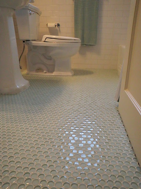 Trends For White Penny Tile Bathroom Floor Photos
