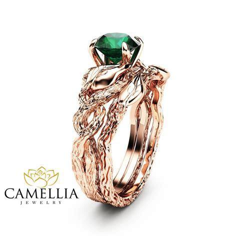 Nature Inspired Emerald Engagement Ring Set 14K Rose Gold